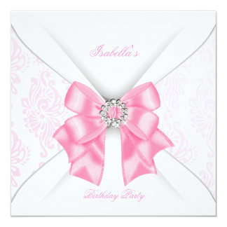 Pretty Pink Birthday Party White Diamond Bow 5.25x5.25 Square Paper Invitation Card