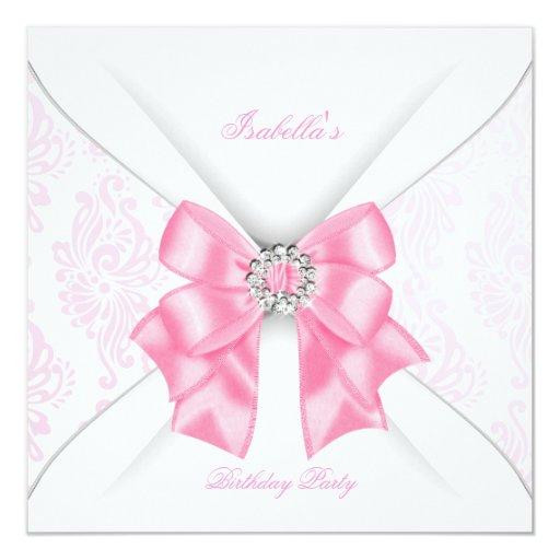 Pretty Pink Birthday Party White Diamond Bow Invitation  Zazzle