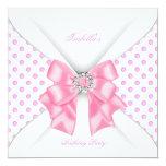 Pretty Pink Birthday Party White Polka Dots Card