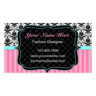 Pretty Pink, Black and White Damask Business Card Business Card Template