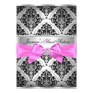 Pretty Pink & Black Damask Sweet 16 Invitation
