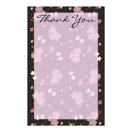 Pretty Pink & Black Floral Thank you letter Custom Stationery