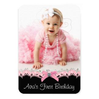 Pretty Pink Black Girls Photo 1st Birthday Party Card