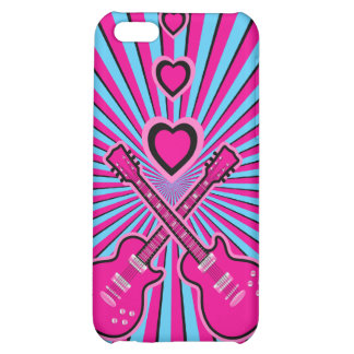 Pretty Pink & Black Guitars & Hearts iPhone 5C Cases