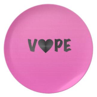 Pretty Pink Black Vape Heart Dinner Plate