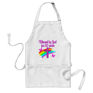 PRETTY PINK BLESSED BY GOD FOR 80 YEARS ADULT APRON
