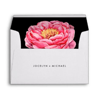 Pretty Pink Bloom on Black Envelope