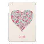 Pretty Pink & Blue Flower Heart iPad Mini Case