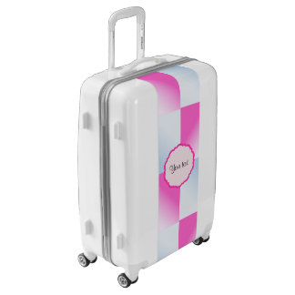 Pretty Pink & Blue Gradient Squares Luggage