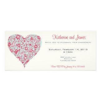 Pretty PInk Blue Love Flower Heart Invitation