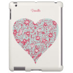 Pretty Pink & Blue Love Flower Heart iPad Case