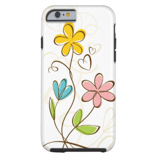 Pretty Pink Blue Orange Floral Tough iPhone 6 Case