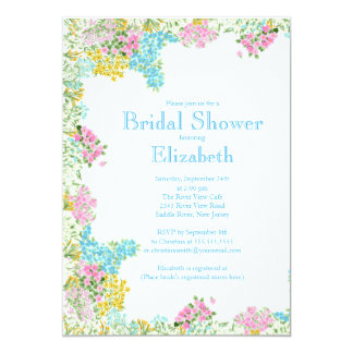 Pretty Pink Blue Watercolor Flowers Bridal Shower 5x7 Paper Invitation Card