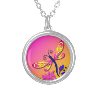 Pretty Pink, Blue & Yellow Dragonfly Pendant