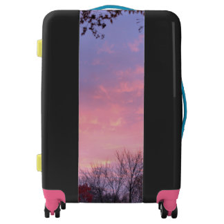 Pretty Pink Blue Yellow Fall Sunset Over Trees Luggage