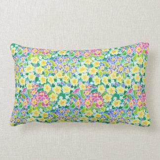 Pretty Pink, Blue, Yellow Primroses Lumbar Pillow
