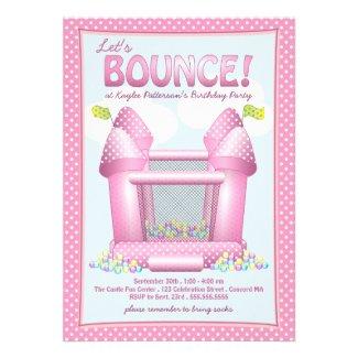 Pretty Pink Bouncy House Birthday Party Invitation