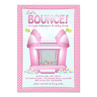 Pretty Pink Bouncy House Birthday Party Invitation