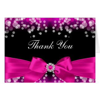 Pretty Pink Bow & Sparkle Thank You Card