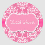 Pretty Pink Bridal Shower Envelope Seal Classic Round Sticker