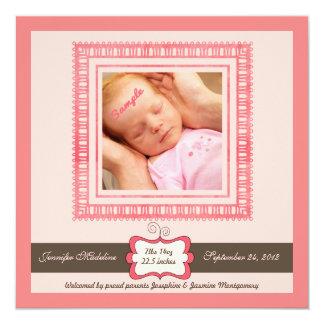 "Pretty Pink Brown New Baby Girl Birth Announcement 5.25"" Square Invitation Card"