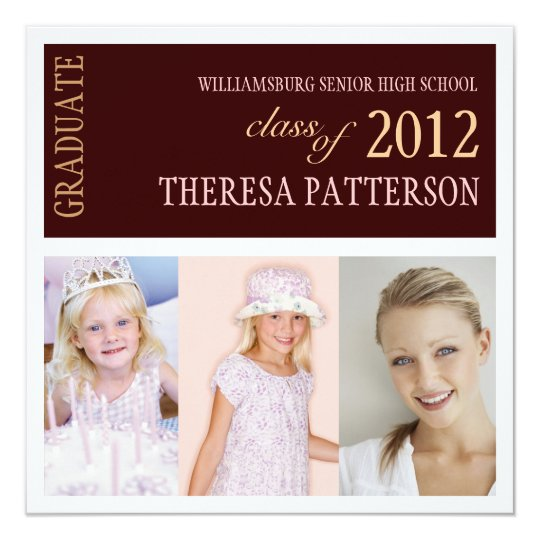 Pretty Pink Brown Photo Collage Graduation Party Card