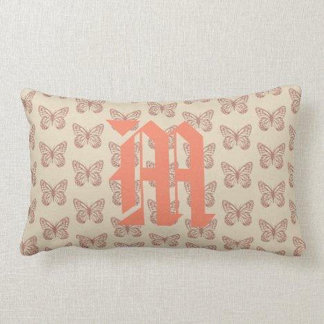 Pretty Pink Butterflies Monogram Pattern Lumbar Pillow