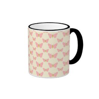 Pretty pink butterflies ringer coffee mug