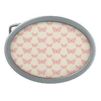 Pretty pink butterflies oval belt buckle