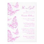 Pretty Pink Butterfly Baby Shower Invitations