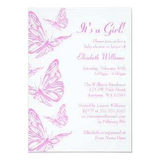 Pink Butterfly Invitations Announcements Zazzle