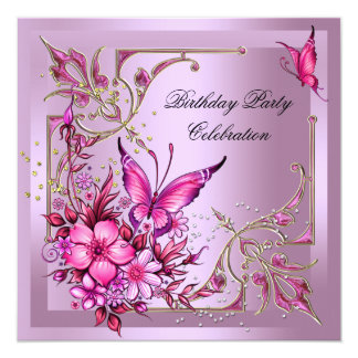 Pretty Pink Butterfly Birthday Party 5.25x5.25 Square Paper Invitation Card