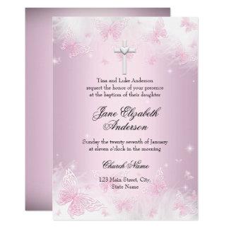 Pretty Pink Butterfly & Cross Baptism Invite