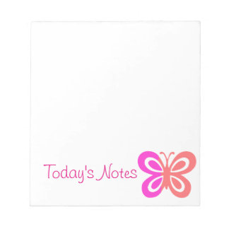 Pretty Pink butterfly design Notepad
