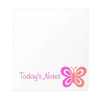 Pretty Pink butterfly design Scratch Pads