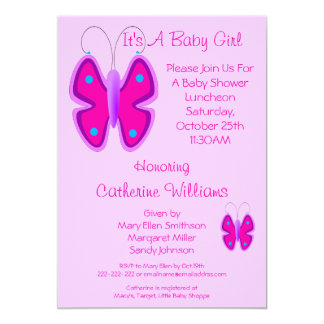 Pretty Pink Butterfly It's A Baby Girl Shower 5x7 Paper Invitation Card