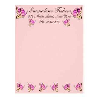 Pretty Pink Butterfly Letterhead