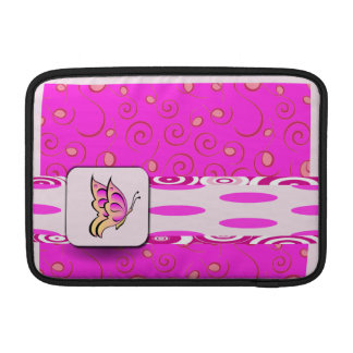 Pretty Pink Butterfly on Polka Dots Background MacBook Sleeve