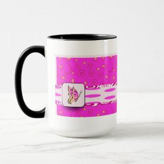 Pretty Pink Butterfly on Polka Dots Background Mug