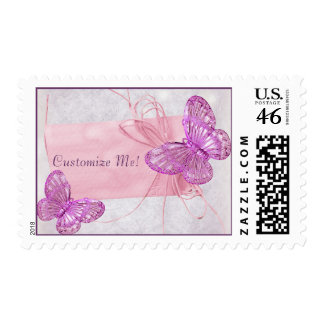 Pretty Pink Butterfly Postage Stamps