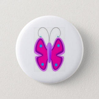 Pretty Pink Butterfly Round Button