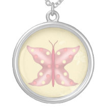 pretty pink butterfly silver plated necklace