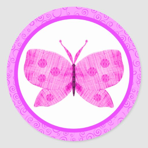 Pretty Pink Butterfly Stickers