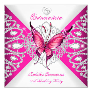 Pretty Pink Butterfly Tiara Quinceanera 15th Party Card