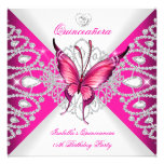 Pretty Pink Butterfly Tiara Quinceanera 15th Party Custom Invite