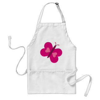 Pretty Pink Butterfly With Hearts Apron