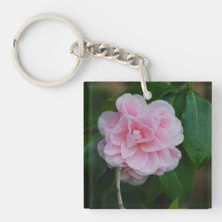 Pretty Pink Camelia Square Acrylic Key Chains