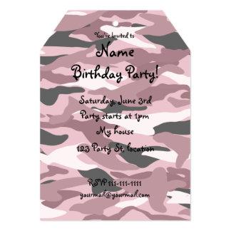 Pretty pink camouflage 5x7 paper invitation card