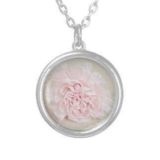 Pretty Pink Carnation by JoMazArt Round Pendant Necklace