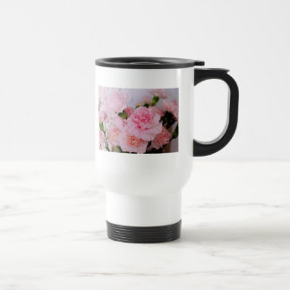 pretty pink carnation flowers mugs
